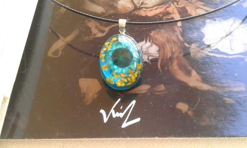 yellow green blue pendant necklace resine oval steel beli\u00e8re handmade in france,black cord,jewel woman,fete birthday Christmas dried flower