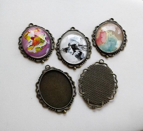 Victorian bohemian round cabochon collage 25mm,basic adjustable ring,bronze brass flat bottom,DIY haberdashery supply,diy gothic jewel