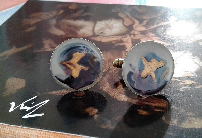 abstract cufflinks bronze round 20 mm buttons painted by artist grey blue Bohemian hippie gold purple Green Black Gothic jewelry accessory man