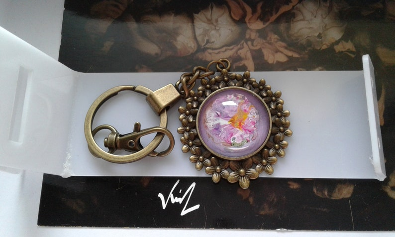 painted French artist,door cle jewel bag,bronze flower,cabochon round 25mm,pink purple green orange,gift party,boho bobo gothic,baroque