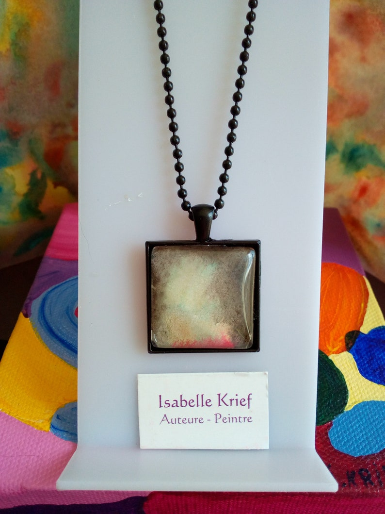 ball chain Black brass square pendant and watercolor cabochon isabelle krief,red brown yellow green grey Christmas birthday gift