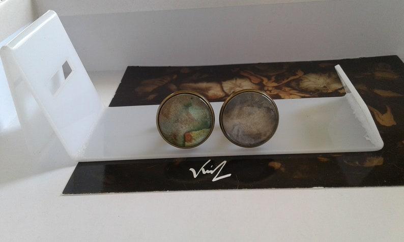 bronze green purple brown Round cufflinks original ooak watercolor,French painter gift idea bobo boho gothic abstract