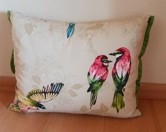rectangle cushion printed cotton bird