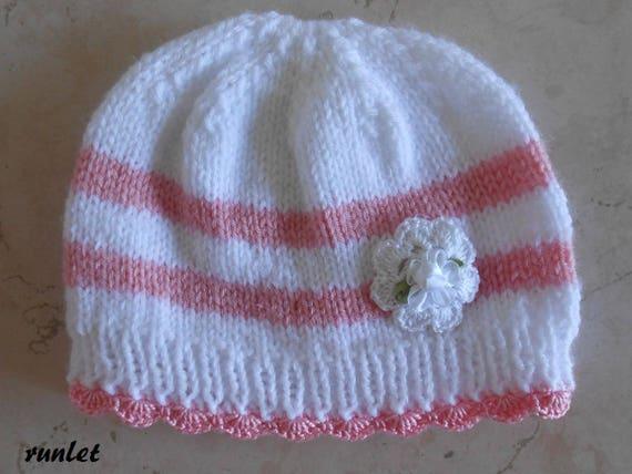 f12c90eca8b9 bonnet bébé laine bonnet bebe fille bonnet bébé laine rose bonnet nouveau né ,bonnet naissance bonnet bébé tricot,bonnet bébé fleur