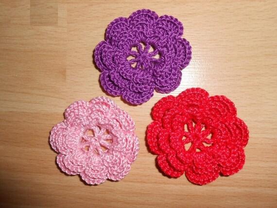 Rote Blumen Rosa Violete Häkeln Fleurs Um Die Häkelblume Eine Etsy