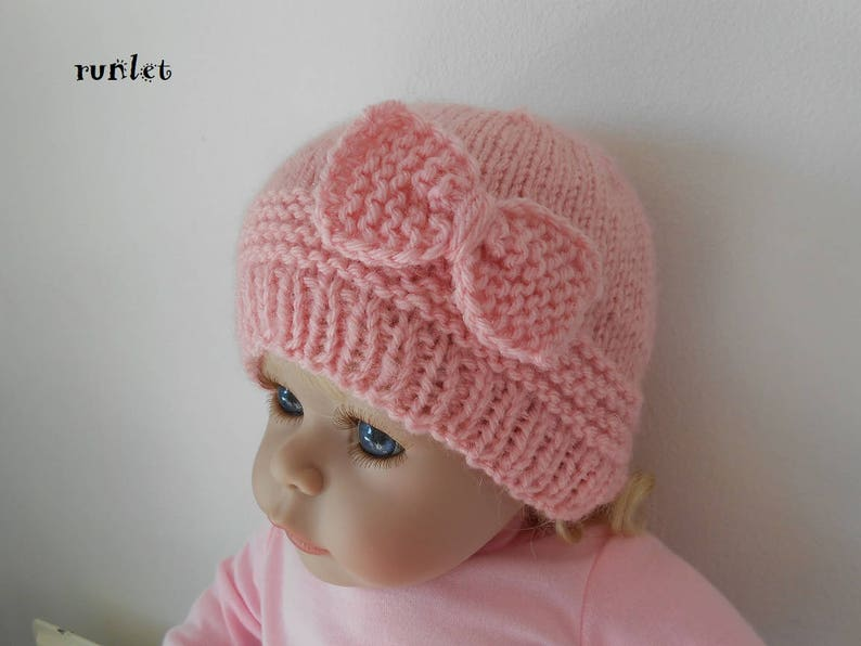 3bec2b2b4ab Newborn girl knit hat rose bonnet Baby girl baby knitted hats