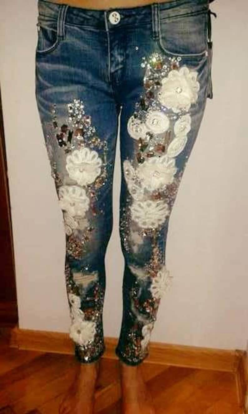 27c4f8f358f Jeans Rhinestone Swarovski Pants Denim