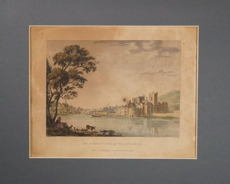 PAUL SANDBY Original Antique Colored Etching Engraving Carrick Abbey and Town