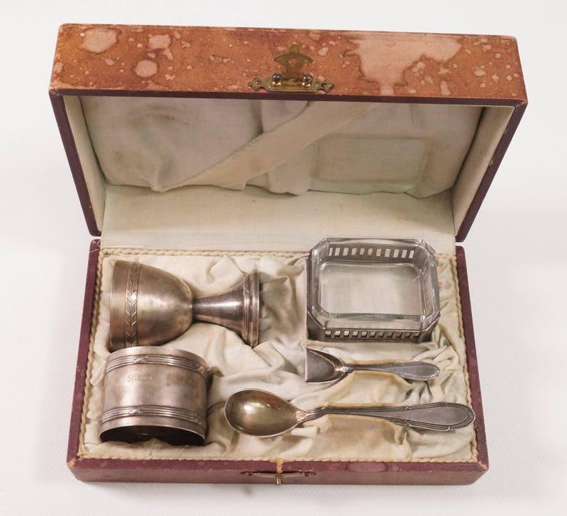 Rare 1920s WMF #125 W\u00dcRTTEMBERGISCHE Elite Breakfast Egg Set in Box 5 pieces