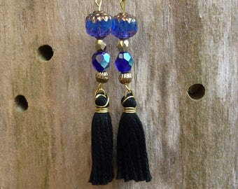Blue night and black glass bead earrings