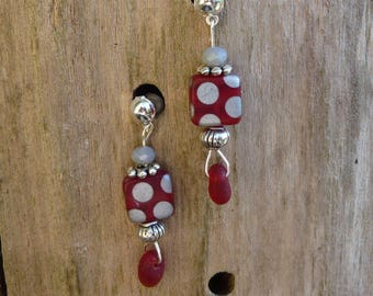 Earrings red beads with silver dots