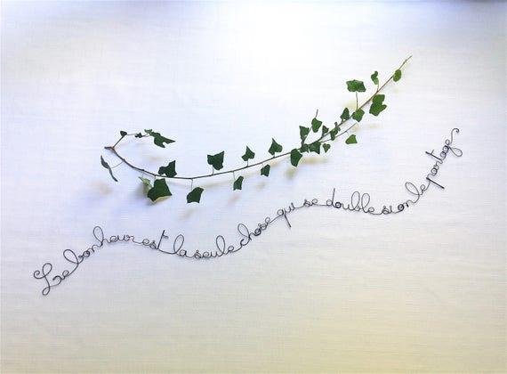 Schreiben Draht Draht Draht Wand Dekoration Zitat Satz