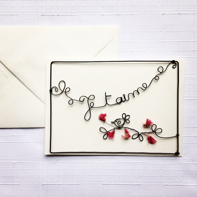 Postcard wire card message card with envelope wire Word I image 0