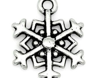 "set of 5 charms ""snow Star"" of 18X14mm"