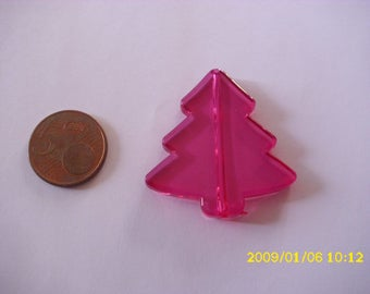 1 Pearl Christmas tree Christmas fuchsia 3.9X4.1 cm 1.9 mm hole