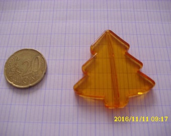 1 Pearl Christmas tree orange 3.9X4.1cm 1.9 mm hole