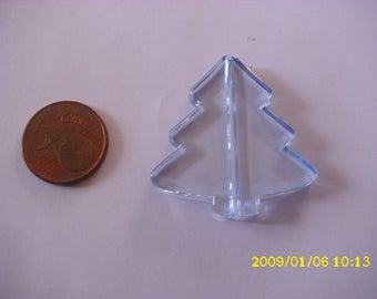 1 Pearl Christmas 3.9X4.1cm 1.9 hole sky blue tree mm