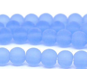 set of 100 6 mm light blue frosted glass beads (hole 1 mm)