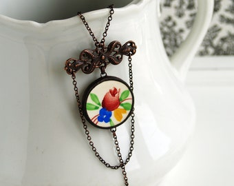 ceramic pendant, hand made jewelry, folklore necklace, broken china jewelry, ceramic Gien, gift for her, flower necklace, made in France