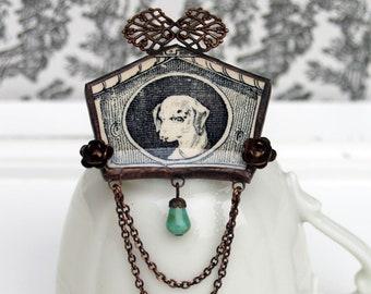 ceramic brooch, animal brooch, dog brooch, broken china jewelry, black ceramic jewelry, portrait jewelry, black brooch, hand made jewelry