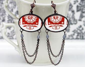 broken china jewellery, broken china dish earrings, chains earrings, flower earrings, ceramic earrings, french china, gift wife