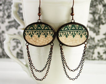 broken china earrings from vintage recycled green plate