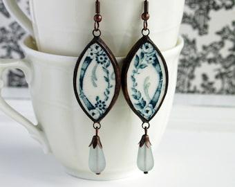 broken china jewellery, broken china dish earrings, green earrings, flower earrings, ceramic earrings, gift for wife, french china