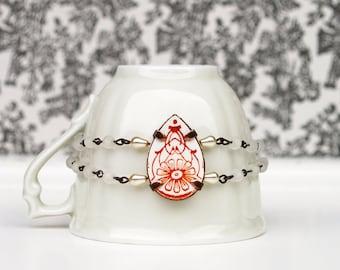 broken china drop bracelet flower pattern