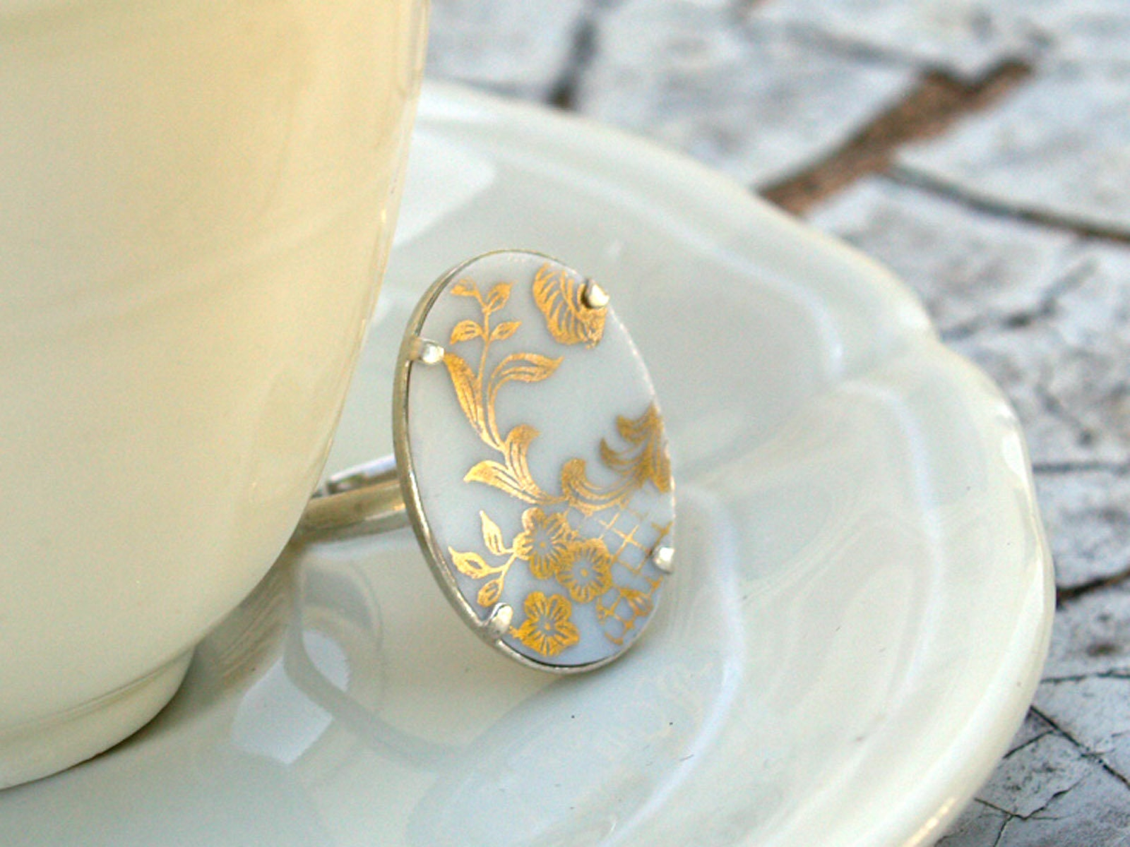 ceramic ring, hand made jewelry, golden porcelain ring, broken china  jewelry, porcelain Limoges, sterling silver ring with porcelain