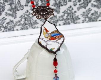 vintage broken china necklace bird pattern