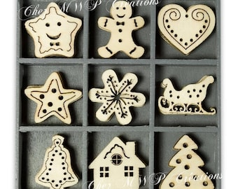 Box small wooden ornaments - Christmas and year (several sets available)