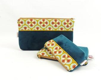 Great velvet blue cosmetic case