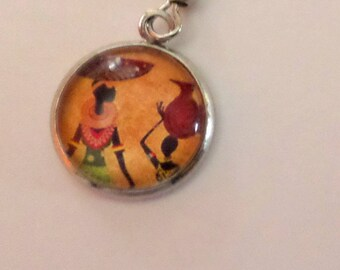 "SOLD to the PIECE ""African"" glass cabochon post earring"