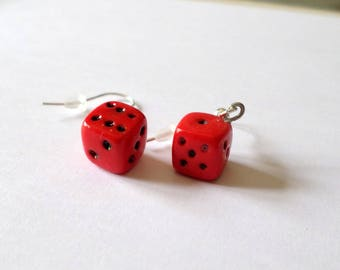 dice earrings red polymer clay