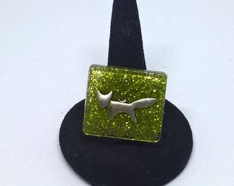 Square green glitter resin Adjustable ring and Fox