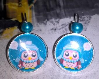OWL Christmas cabochon earrings