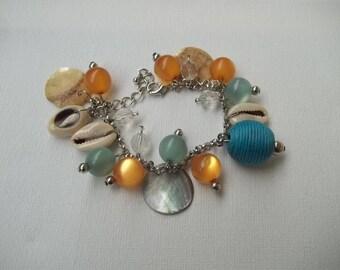 Summer bracelet blue and orange shells and pearls