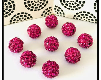 X10 beads shamballa crystal rhinestones 10mm, pink fushia