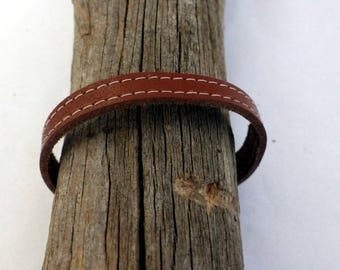 Stitched Brown Leather Bracelet minimalist woman, silver clasp