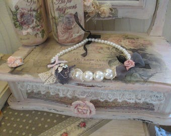 "Necklace pearls and rhinestones Shabby chic - Creation ""at the cozy attic"""
