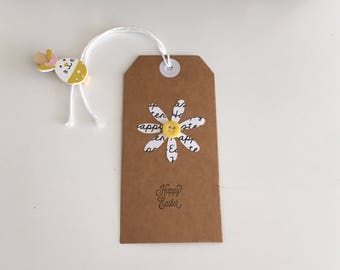 Handmade - Hand Stamped - Happy Easter Gift Tags - Set of 4 - Font and Flower - Gift Labels