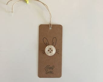 Handmade - Hand Stamped - Happy Easter Gift Tags - Set of 4 - Easter Bunny Design - Gift Labels