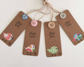 Handmade - Hand Stamped - Happy Easter Gift Tags - Set of 4 - Bird Design - Gift Labels