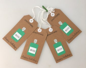 Handmade - Hand Stamped - Gin Gift Tags - Set of 4 - Happy Birthday - Gin Lover