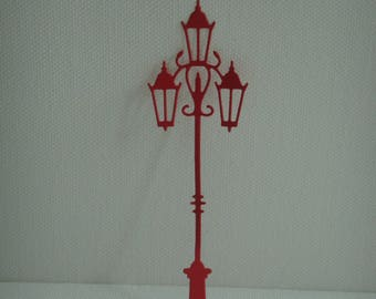 Cutting floor lamp in drawing paper red 3 lights for scrapbooking or card