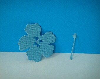 Grey blue hibiscus for scrapbooking or card cutting