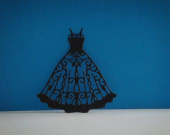 Cut black sequined dress for creation