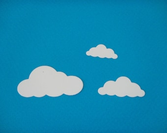 Set of 3 clouds for scrapbooking and card
