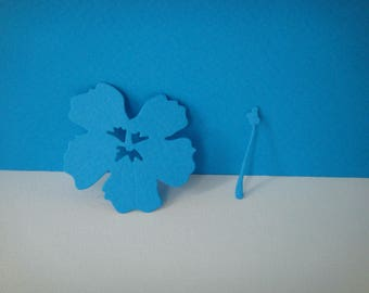 Cut for scrapbooking and card dark blue hibiscus