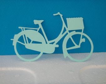 Découpe Vélo de ville en papier dessin bleu clair pour scrapbooking et carte